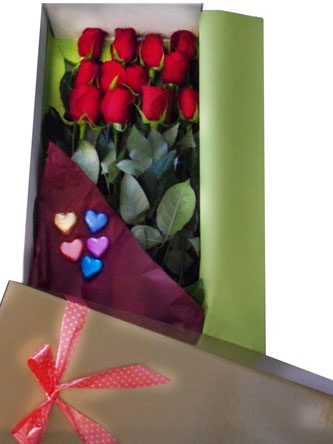Dozen Red Roses and Chocolate
