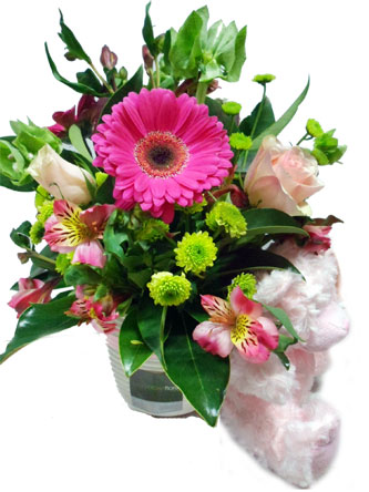 baby bliss flower arrangement for boy or girl