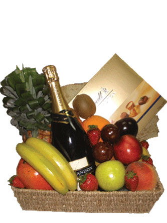 Fruit Chocolate and Alcohol Basket
