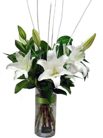 riental lilies (white or pink) and greenery simply arranged in a glass vase with ribbon