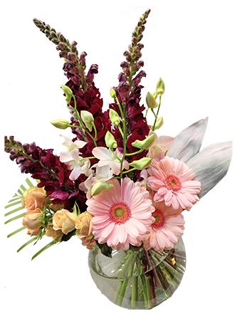 flower arrangement in a fish bowl