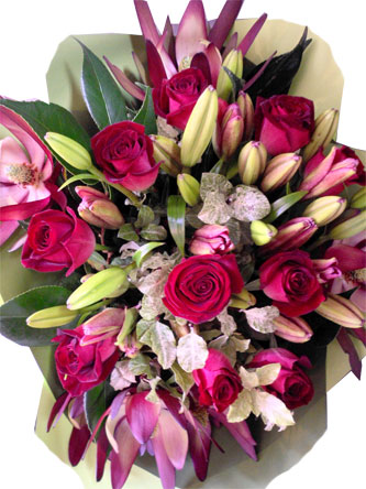 red roses and red foliage bouquet