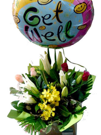 flower arrangement of roses, lilies, orchids and a get well soon balloon that will bring a smile and make anyone feel better.