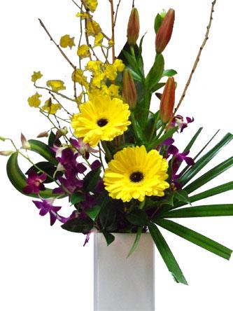 Bright gerberas, orchids, lillies in a ceramic vase